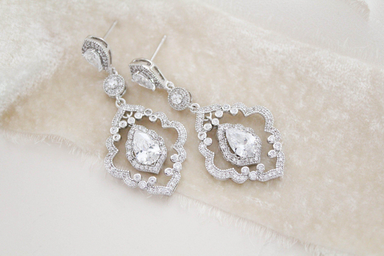 Art Deco Chandelier Bridal Earrings Bridal Jewelry Statement Etsy In 2020 Art Deco Earrings Wedding Bridal Earrings Drop Vintage Wedding Jewelry