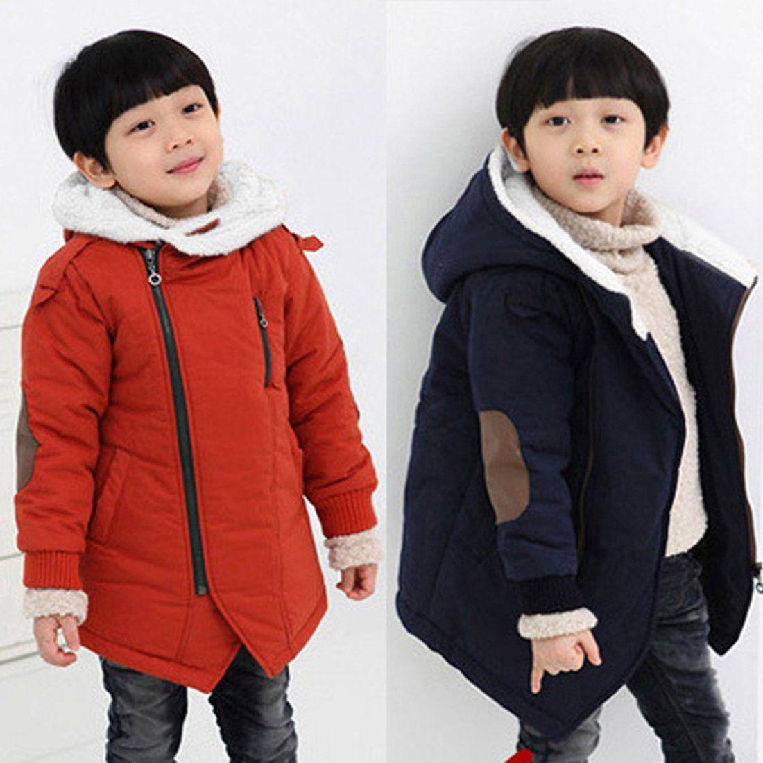 6c84d4dd2 Gaorui Boys Winter Hooded Down Coat Jacket Thick Wool Inside Kids ...