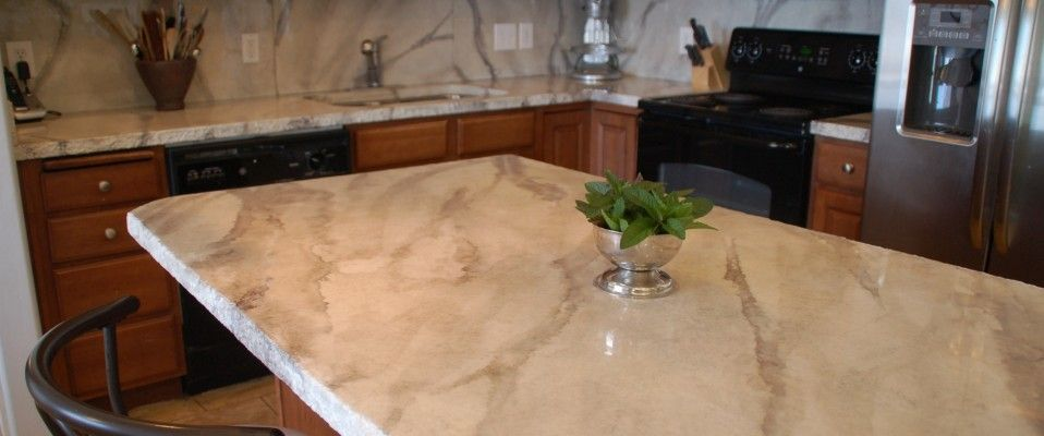 White And Grey Marble Concrete Countertops Kitchen Living