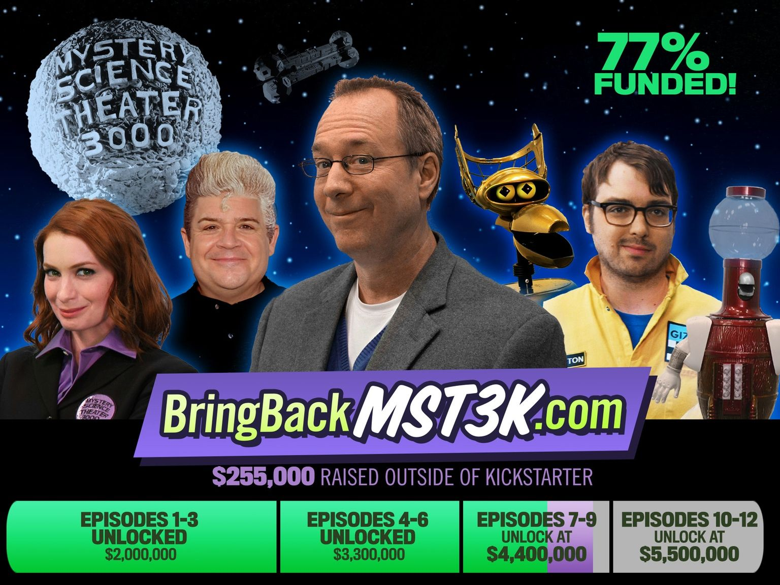 Thanks to you, MST3K will get at least SIX NEW EPISODES... but if we can reach $5.5M, we'll make a full season of TWELVE!