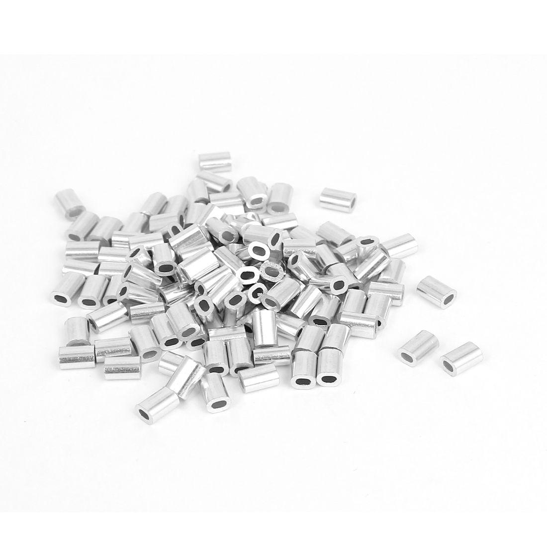 Uxcell 0 8 Mm 1 32 Steel Wire Rope Aluminiowe Okucia Rekawy Srebrny Tone 100 Sztuk Silver Tone Silver Wire