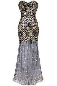 Gorgeous Art Deco Dress 1920s Mermaid Hemline Sequin