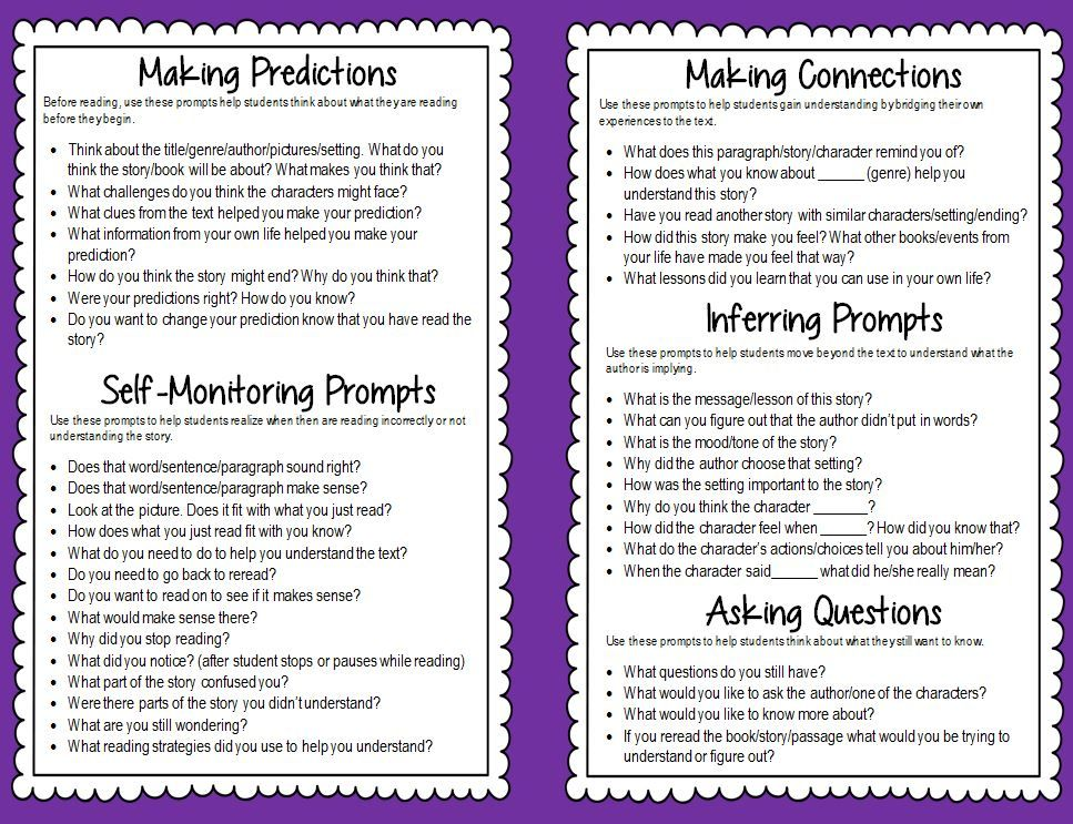 60 Guided Reading Prompts Free Printable Booklet