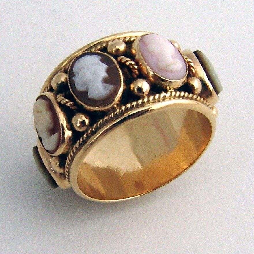 Antique cameo ring 14k yellow gold multi colored cameo antique antique cameo ring 14k yellow gold multi colored cameo antique band aloadofball Choice Image
