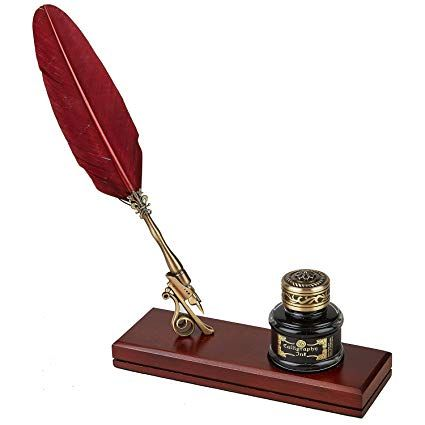Vintage Writing Gift Set Feather Quill & Ink Desk Set with ...