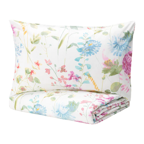 GRÄSVIAL Comforter set, 3pieces flower Full/Queen