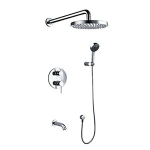 Contemporary Chrome Wall Mount Tub Shower Faucet With 8 Inch Shower Head Hand Shower With Images Shower Faucets Shower Faucet Tub And Shower Faucets