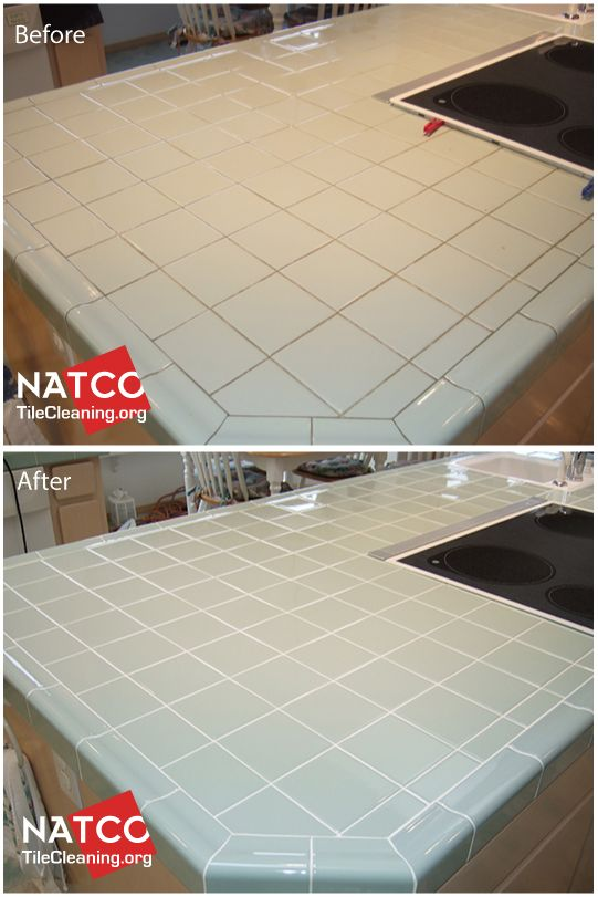 Regrouting A Kitchen Tile Countertop With Green Tiles
