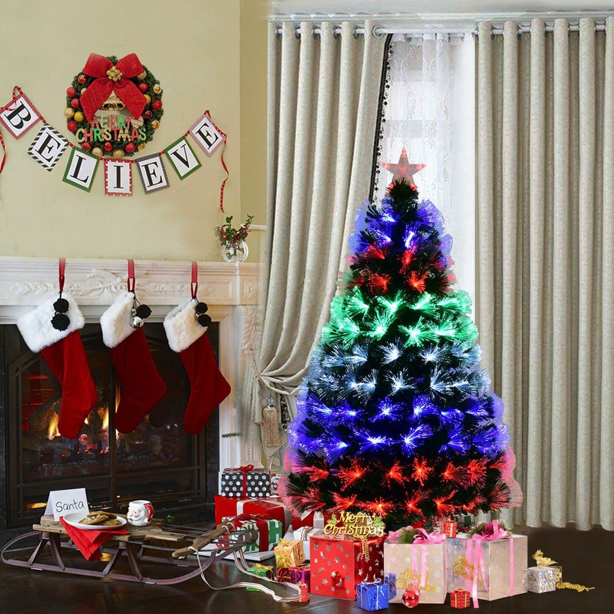 Apontus 5 Fiber Artificial Christmas Tree W Multicolor Lights And Stand Check Out Fiber Optic Christmas Tree Pencil Christmas Tree Artificial Christmas Tree