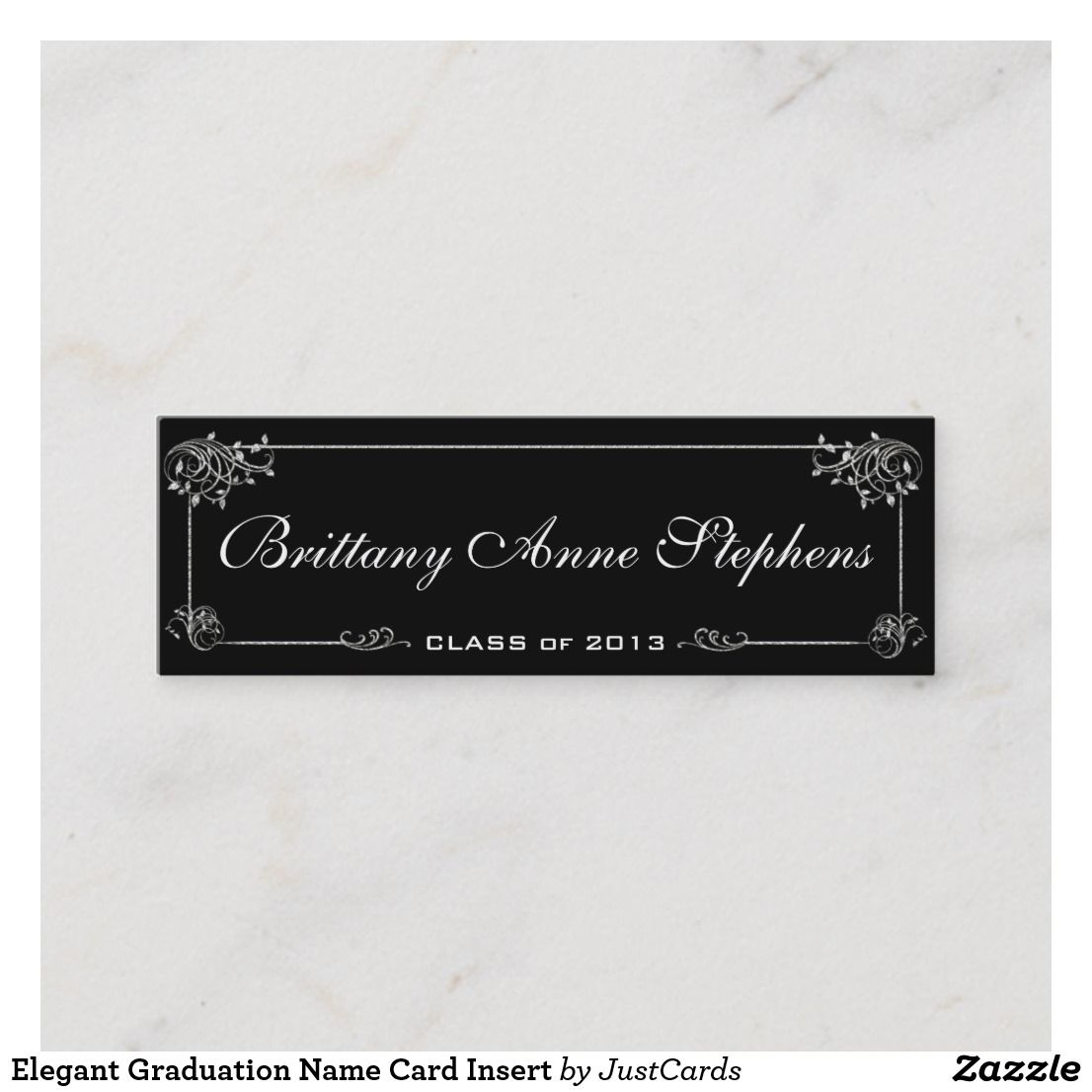 Elegant Graduation Name Card Insert Zazzle Com Name Cards Graduation Invitations Business Card Size