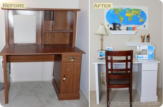 old computer desk to new craft desk diy transformation office