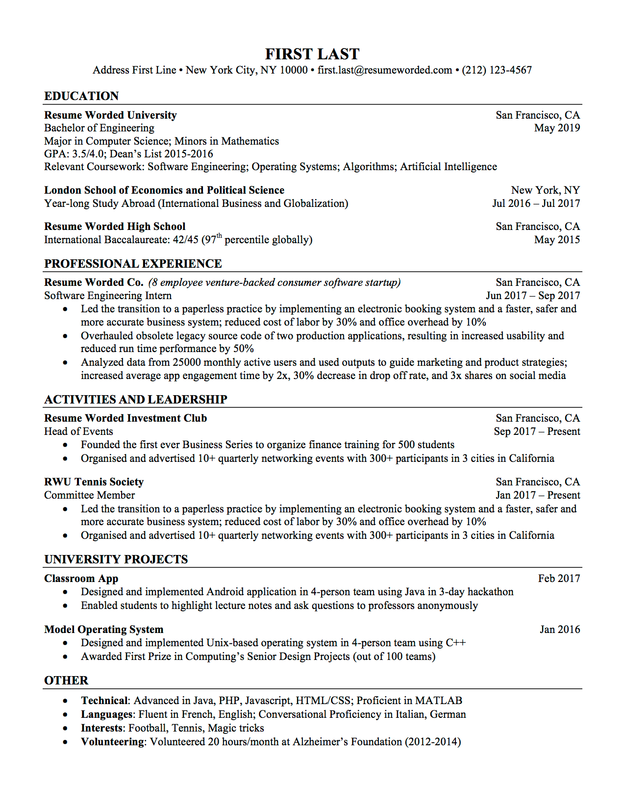 Professional Resumes Templates Free in 2020 Resume