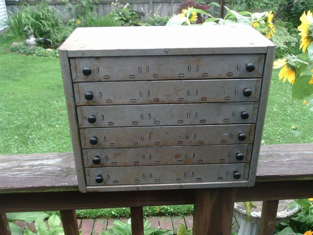 vtg industrial age machinist metal file tool steampunk drawers cabinet chest box