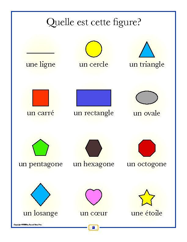 French Shapes Poster Worksheets Learn Spanish And Spanish
