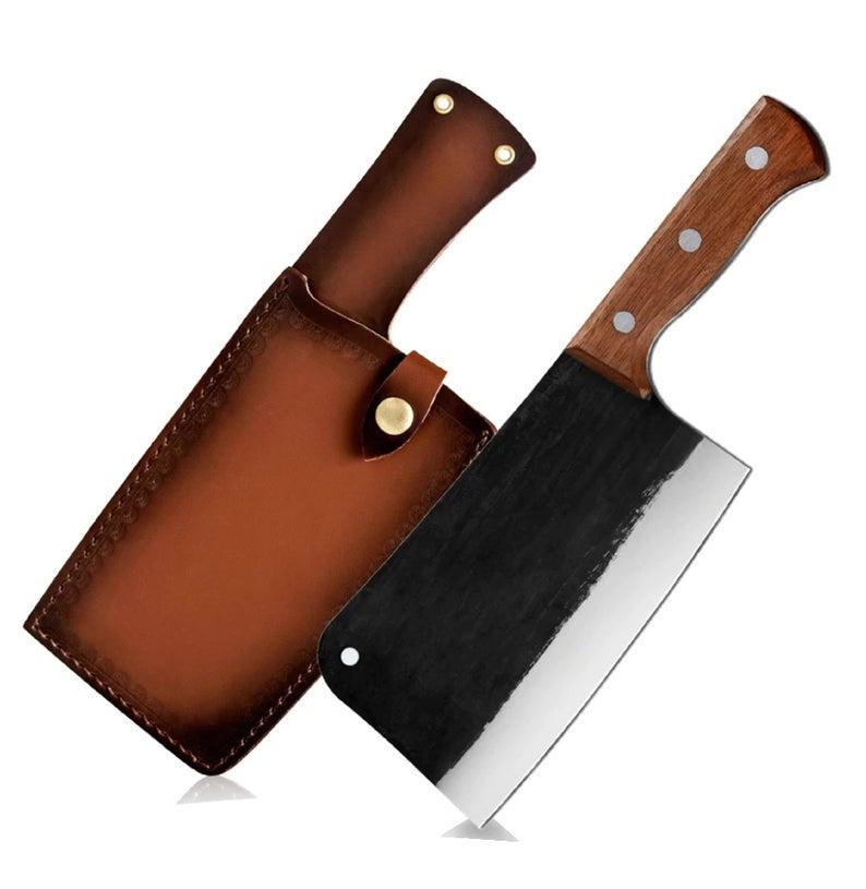 Hand Forged Butcher Knife Handmade Bone Chopping Forging Blade Stainless Steel Slaughter Hunting Cooking Knives Butcher Knife Butcher Knife