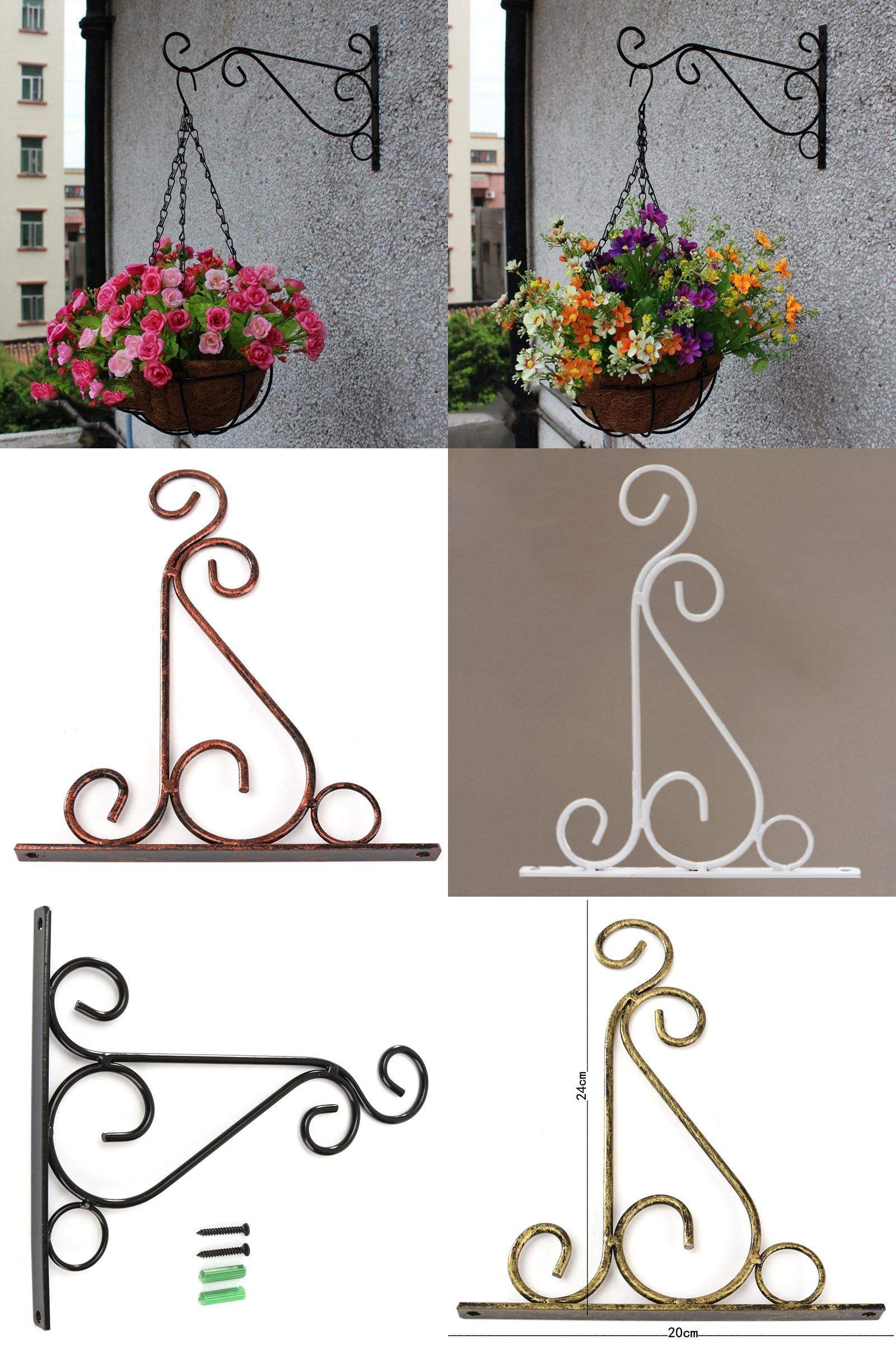 [Visit To Buy] Plant Hanger Iron Balcony Railings Garden Wall Hook Hanging  Plant Hook