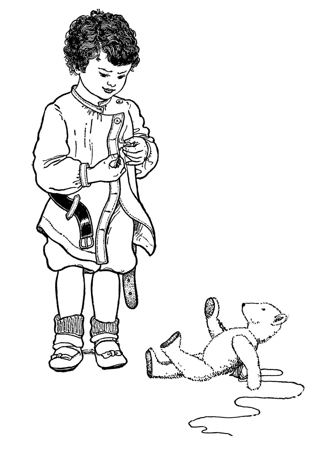 Little Boy With Buttons And Bear