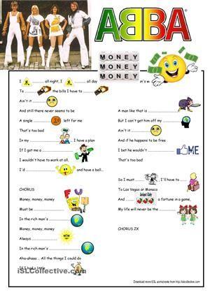 Abba Lyrics - Money, Money, Money (Song Gapfill) worksheet - Free ...