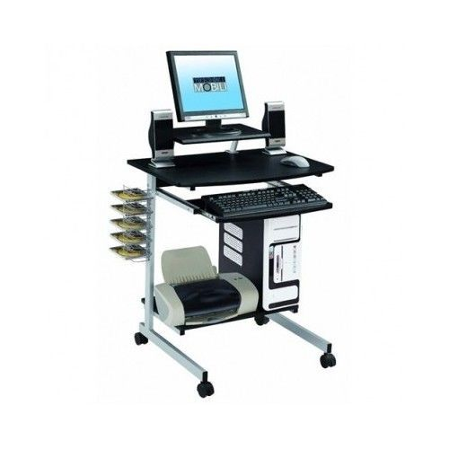 Mobile Computer Table Laptop Stand Portable Cart Storage