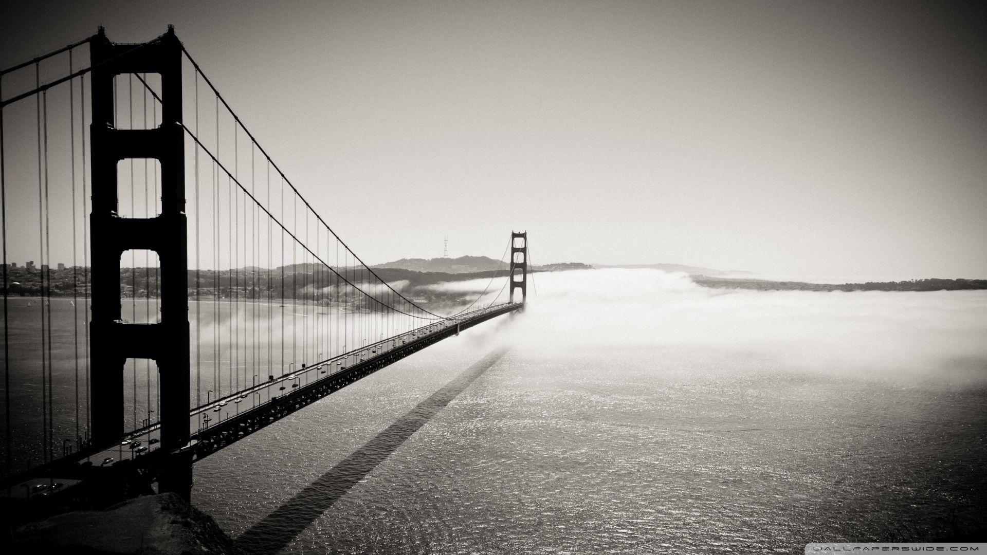 Golden Gate Bridge Black And White Wallpaper   Vintage
