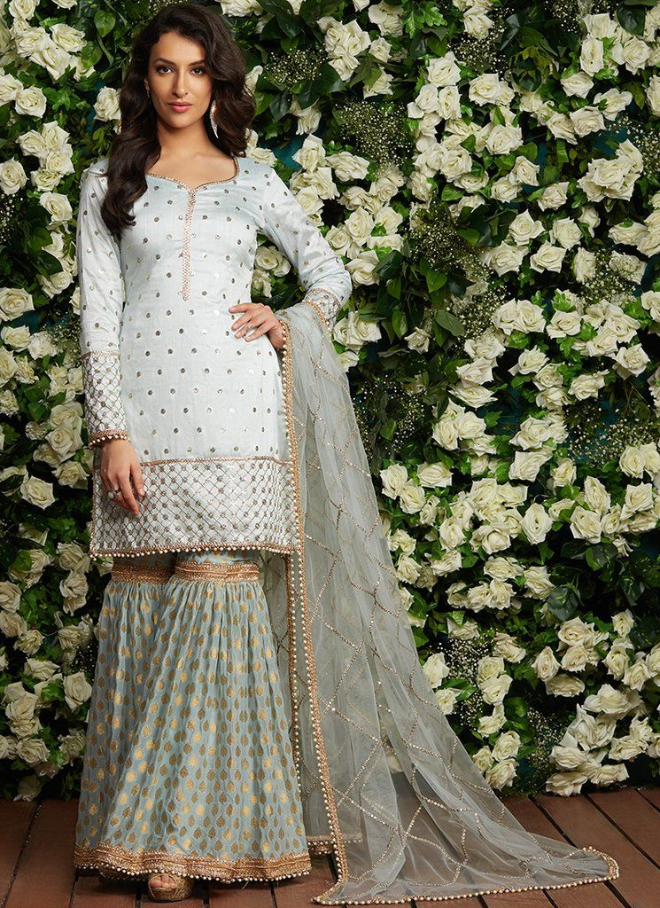 4877b53ce6 Light Blue Brocade Gharara Suit in 2019 | Gharara Suits at Lashkaraa ...