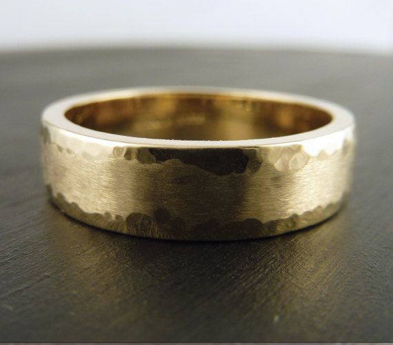 Size 8 75 Gold Wedding Band Ring 14k Yellow Hammered