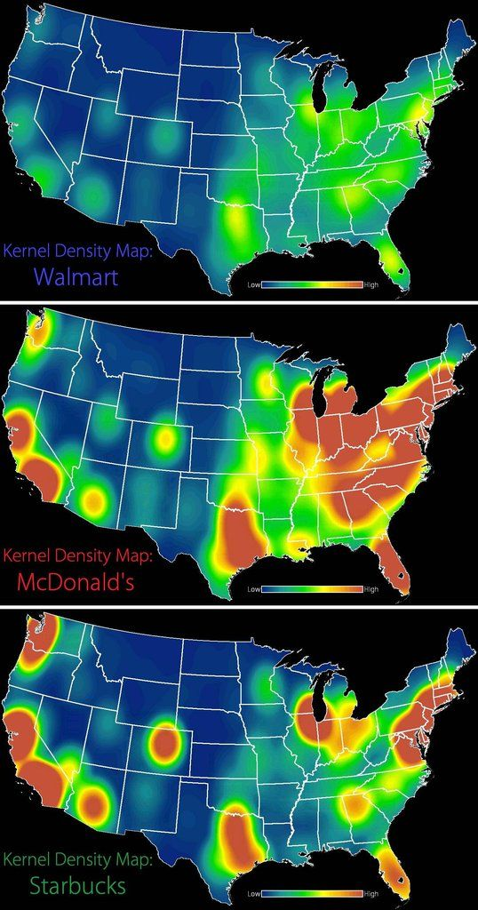 Kernel density maps showing walmart mcdonalds and starbucks kernel density maps showing walmart mcdonalds and starbucks distributions in the usa gumiabroncs Images