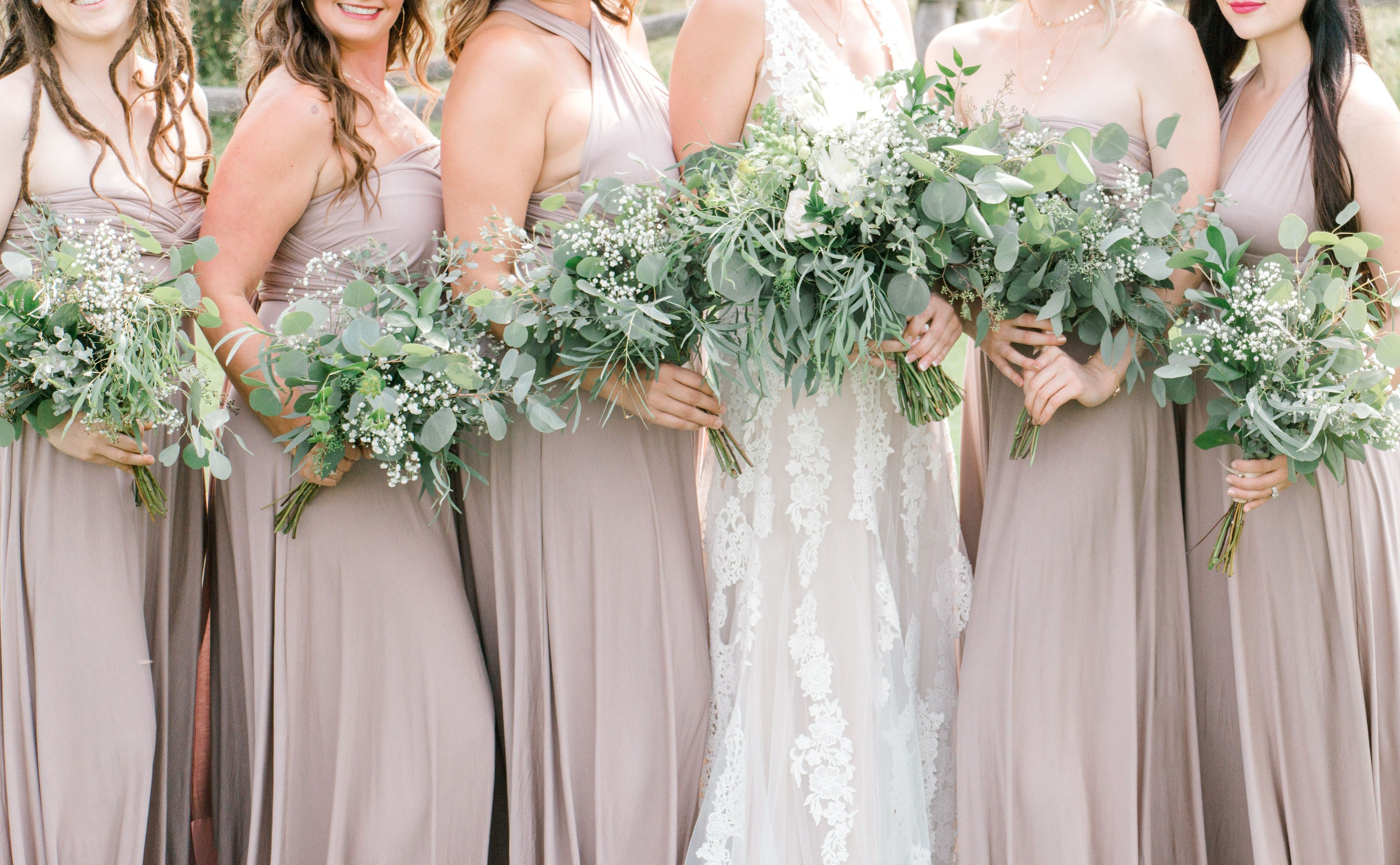Bouquets Made Of Greenery And Baby S Breath Winter Wedding Bouquet Wildflower Wedding Bridesmaid Bouquet