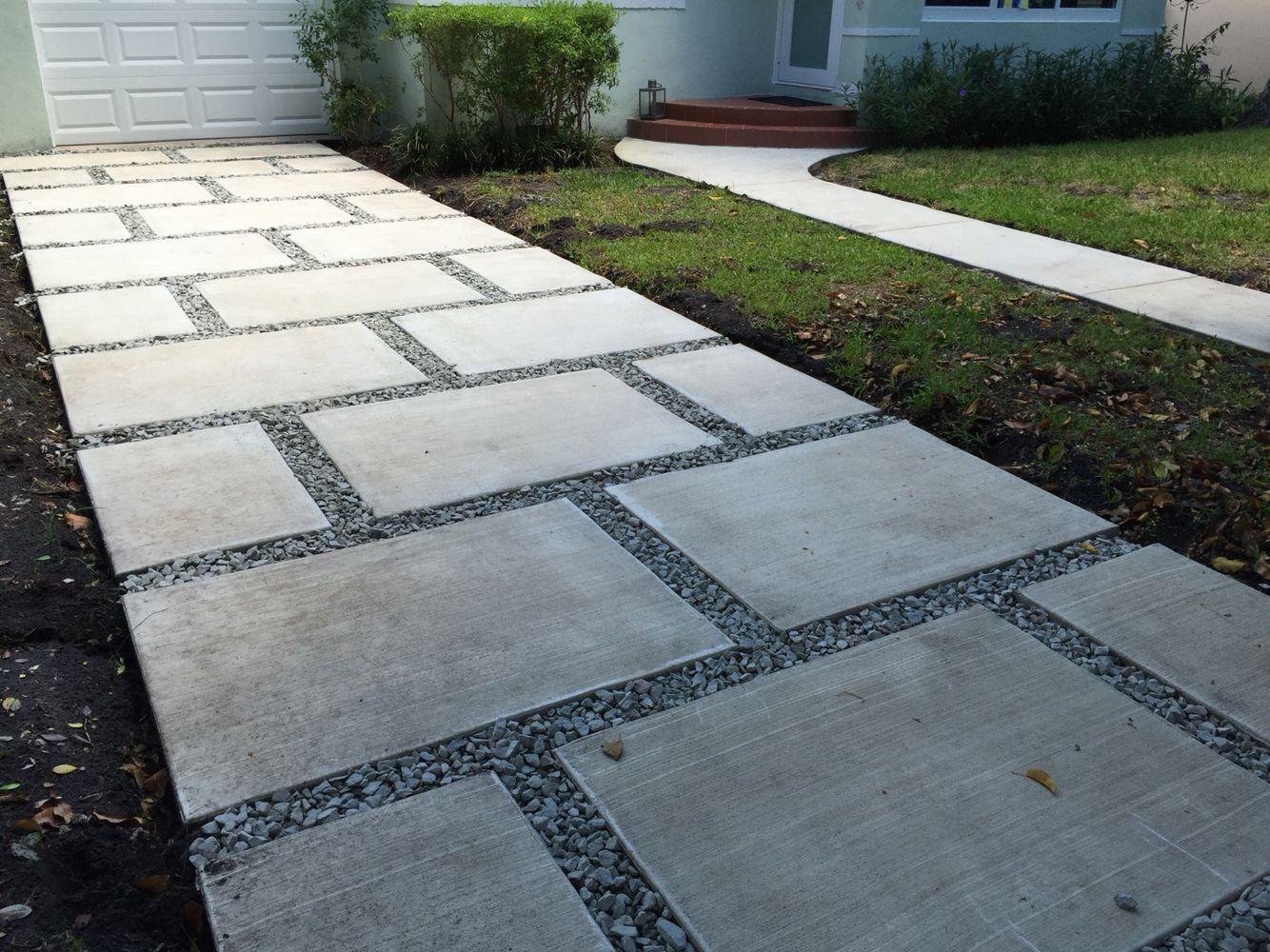 concrete paver staggered squares design