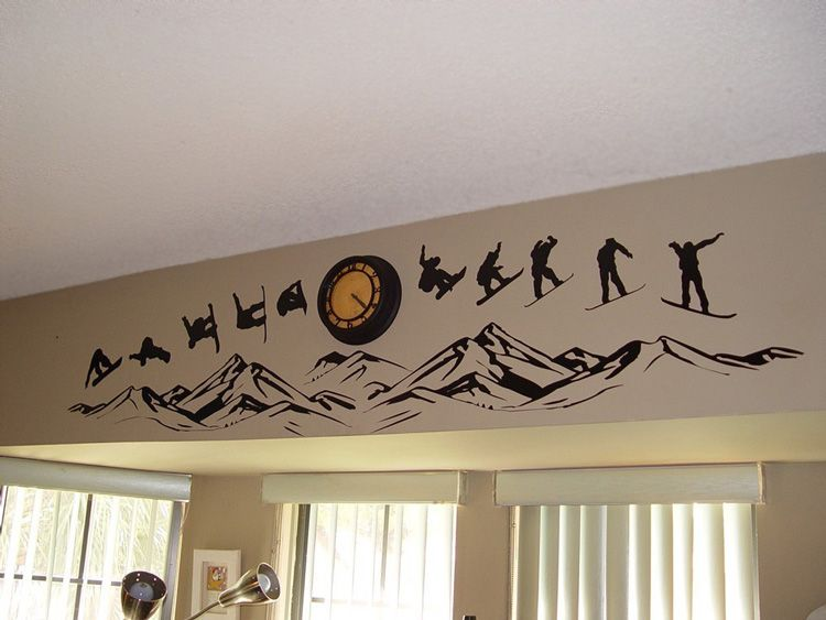 Snowboarding Over the Mountains - Vinyl Wall Decals | Houses ...