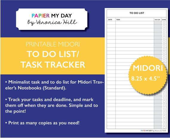 This Printable Midori Travelers Notebook To Do List And Task