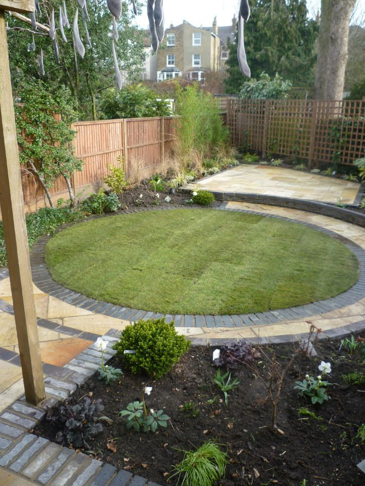 circular lawn and slight terraced patio