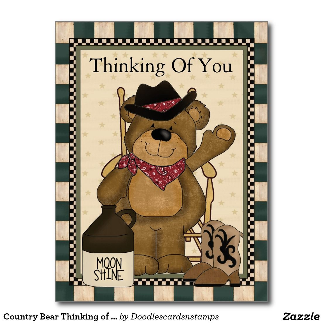 Country Bear Thinking of you postcard