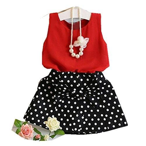 0fd6fae4083 HOT SALE!!1-6 Years Old Girls Vest Pleated Dress Two Pieces Set Clothes  Children Skirt Suit (Red