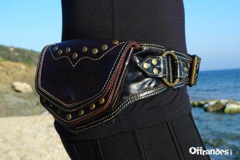 Leather Hip Belt BaG BASTIDE BLANCHE BLACK by offrandes