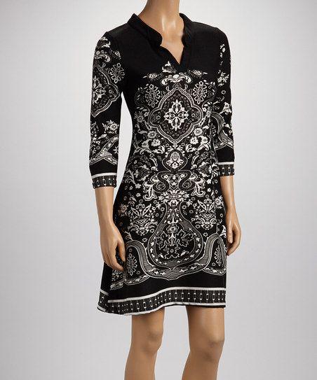 Black Arabesque Three-Quarter Sleeve Dress