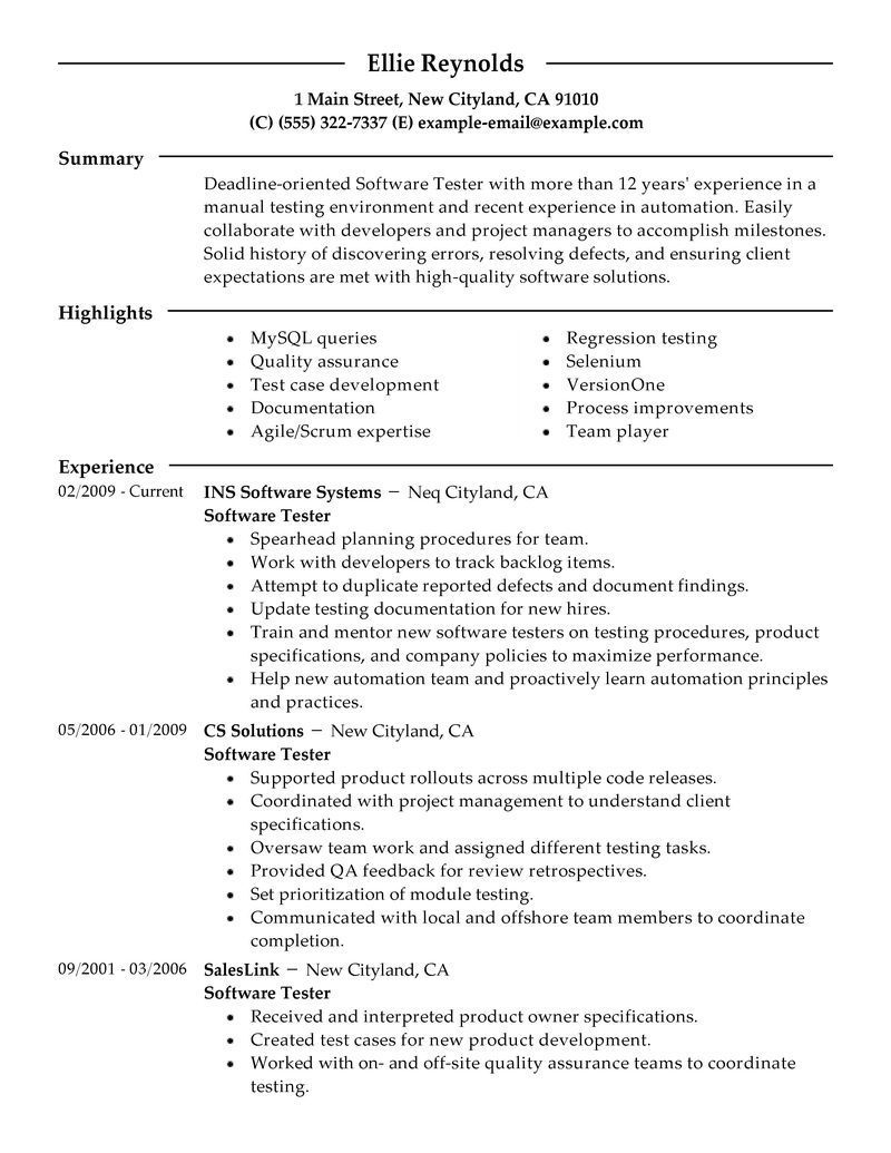 test manager resume summary sample profile statements for