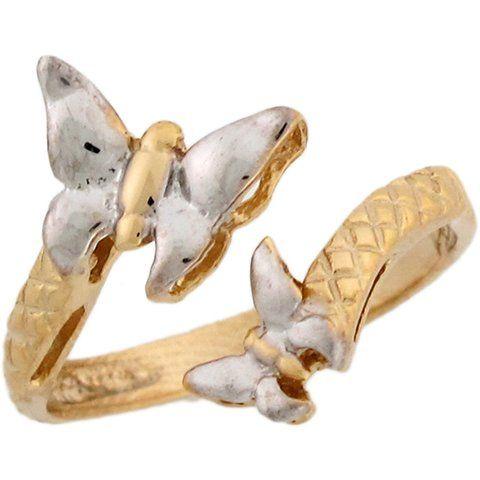 Amazon.com: Two-Toned 14k Real Gold Butterflies Wrap Ladies Ring: Jewelry