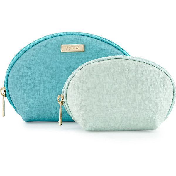 Furla Classic Cosmetics Leather Two-Pouch Set (€89) ❤ liked on Polyvore featuring bags, handbags, clutches, green leather handbag, green purse, leather clutches, green clutches and green handbags