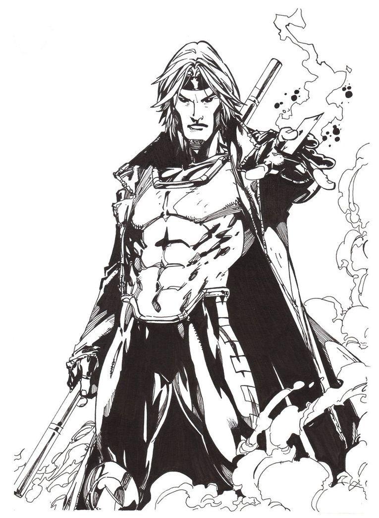Free coloring pages x-men - X Men Gambit Coloring Page