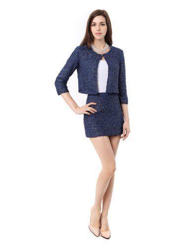 Doublju 3 4 Sleeve Crop Jacket And Mini Skirt Suit Set Navy Us M