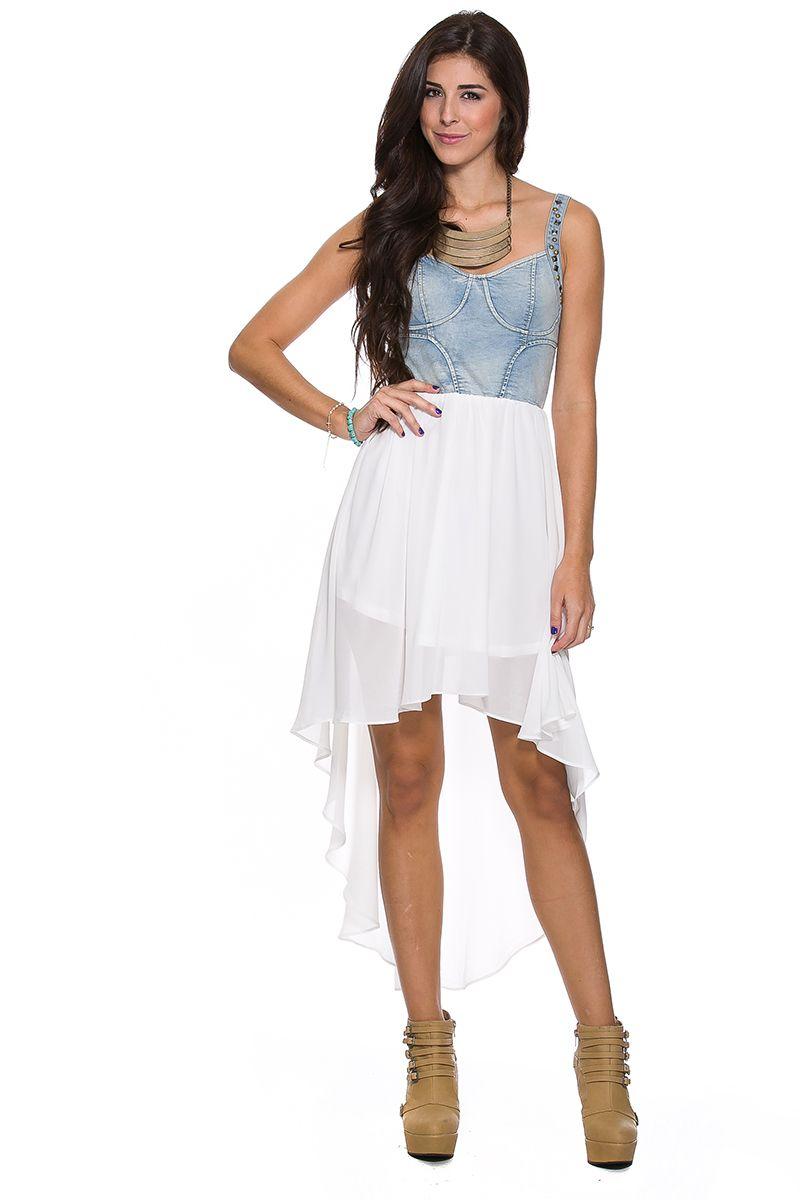 Foreign exchange women dresses day white pretty in denim