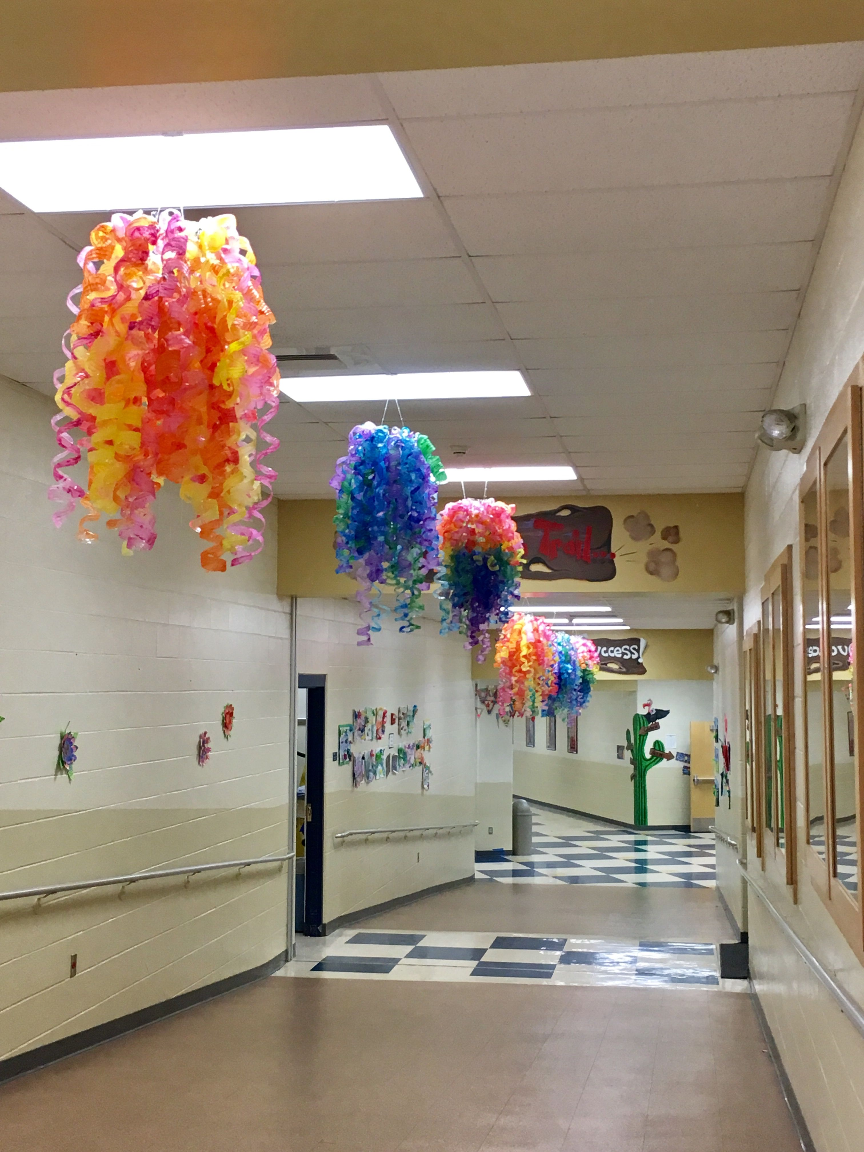 Chihuly Style Chandeliers from up cycled water bottles
