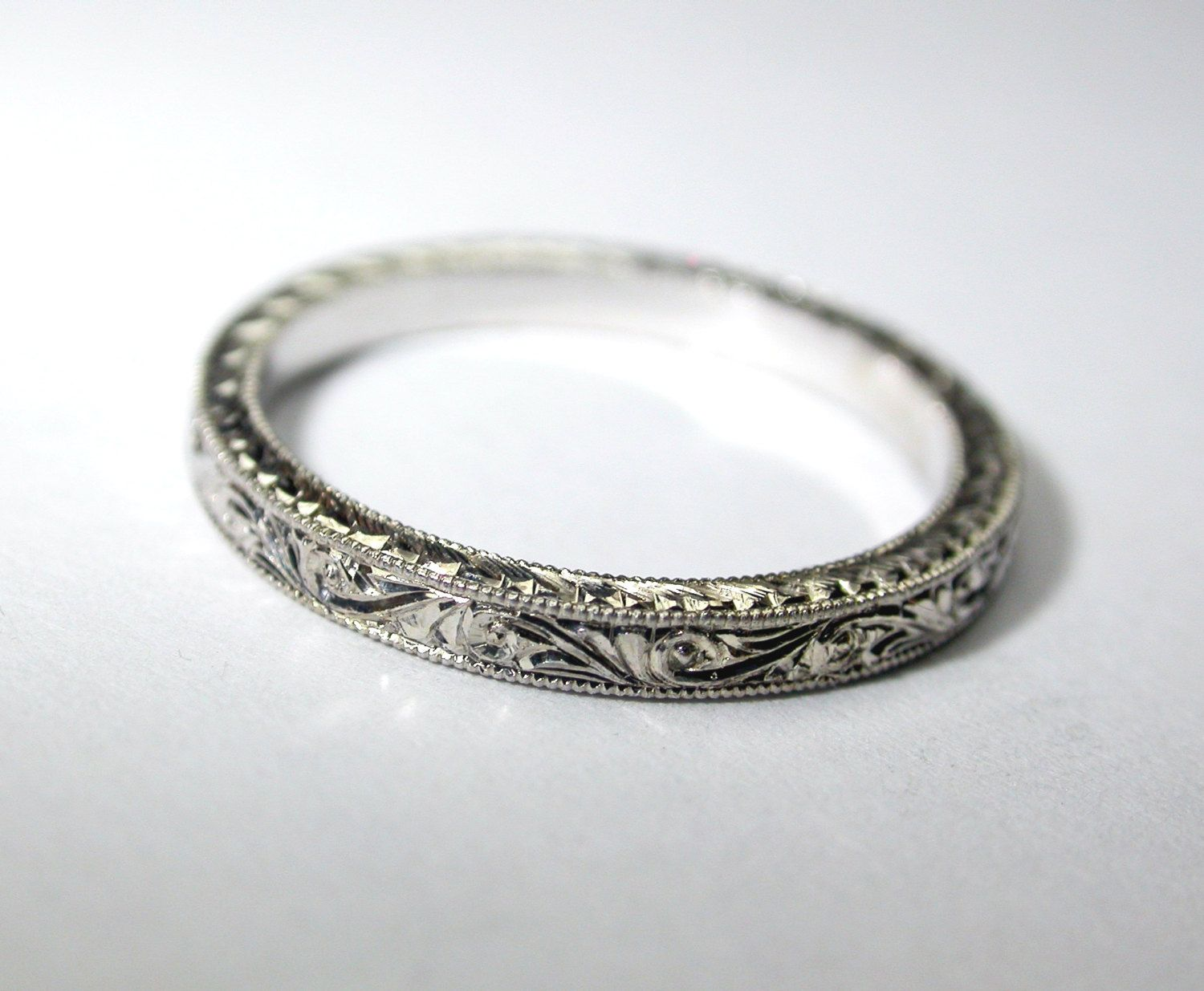 Hand Engraved Platinum Wedding Ring Band 2 by konstantinkapirin