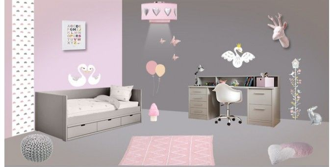 Déco Chambre enfant Rose Gris | Chambre Rose | Pinterest | Rose ...