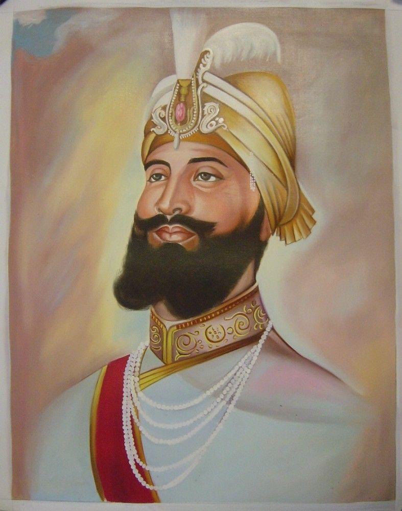 Guru Gobind Singh Sikh Painting Handmade Punjab Religion Paper Oil