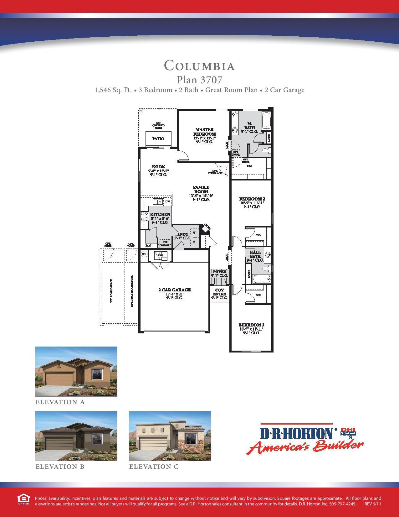 DR Horton Columbia Floor Plan