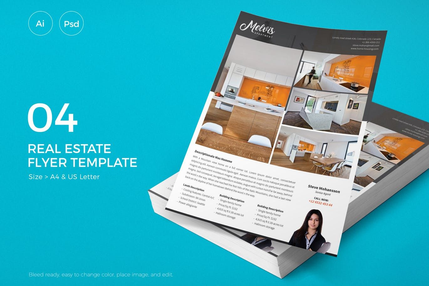 slidewerk real estate flyer template ai psd a4 and us letter size