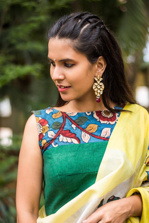 182146180200f House Of Blouse Green khadi cotton boat neck blouse with handpainted  Kalamkari yoke