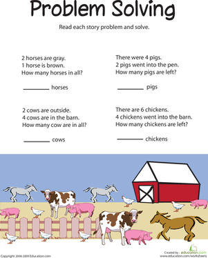 Worksheets Problem Solving In Grade 1 animal addition problem solving free printables solving